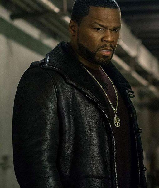 50 Cent Power Black Leather Coat