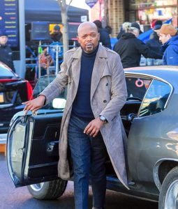 John Shaft Suede Leather Grey Coat