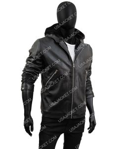 Tommy Egan Black Leather Jacket With Hood