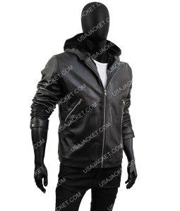 Tommy Egan Black Leather Jacket With Hood