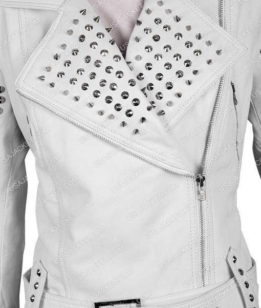 True Blood pam White Spiked Leather Jacket