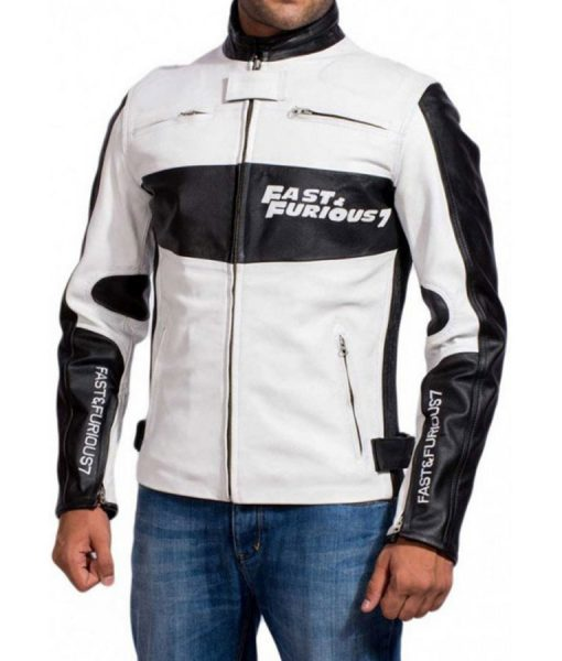 Dominic Toretto Fast and Furious 7 White Leather Jacket