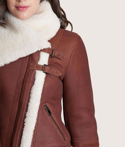 Asymmetric Brown Sheepskin Leather Jacket