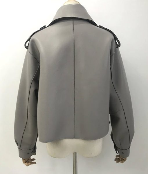 Womens Grey Leather Jacket