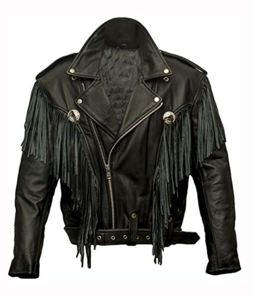 Money Heist Nairobi Black Biker Jacket With Fringe