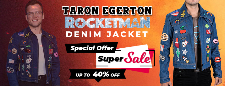 Rocketman Blue Denim Jacket With Patches