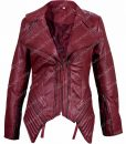Womens Slimfit Tuxedo Zipper Moto Leather Jacket