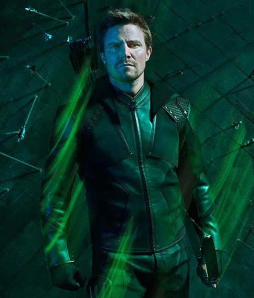 Stephen Amell Green Arrow S08 Hoodie Jacket