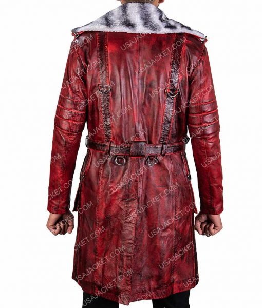 Fallout 4 Nuka Raider Red Distressed Leather Trench Coat
