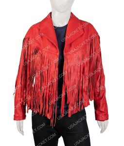 Women's Red Fringe Style Jacket