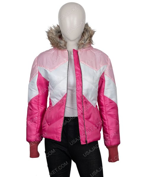 Zombieland Double Tab Zoey Deutch Pink Jacket With Fur Hood