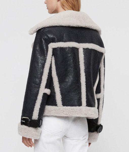 Black Shealing Leather Jacket