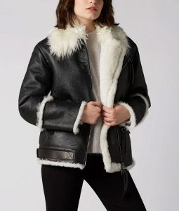 Womens Black Leather White Shearling Jakcet