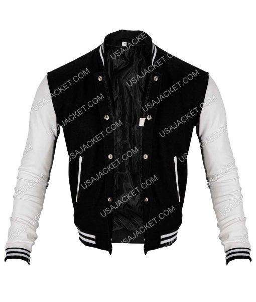 Black Wool White Leather Sleeves Varsity Jacket