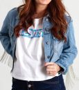 Constance Wu Blue Crop Denim Jacket