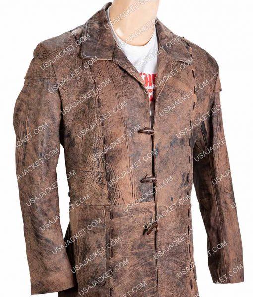 Shane West Salem Brown Leather Long Coat