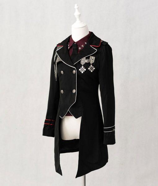 Lolita Military Black Cotton Coat