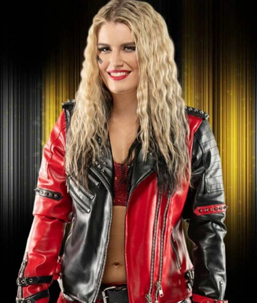 Toni Storm Red and Black Leather Jacket
