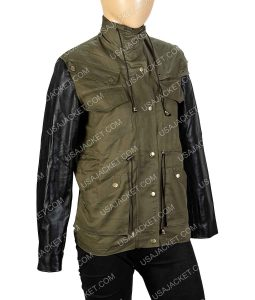 Army Green Jacket With Black Leather Sleeves