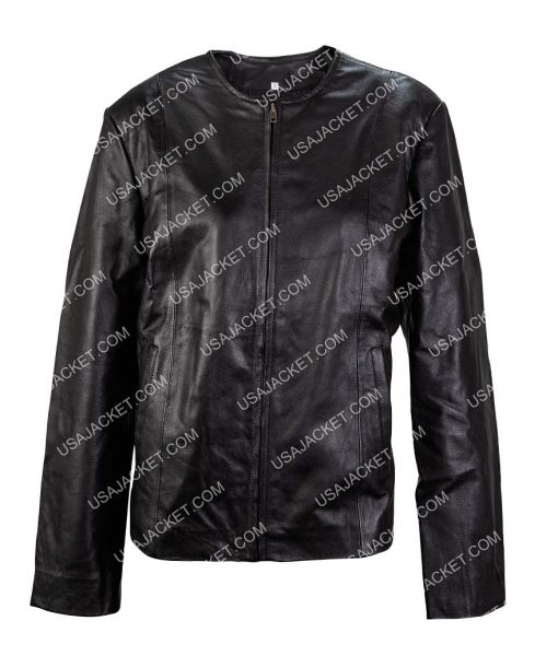 Womens Slimfit Moto Bomber Biker Leather Jacket