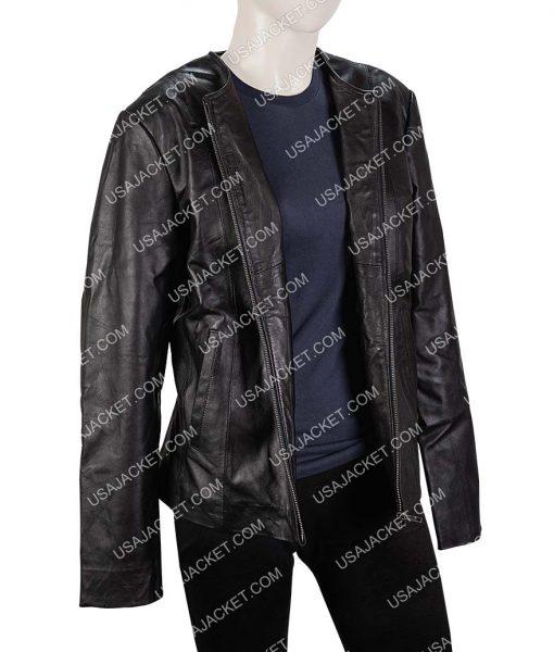 Womens Collarless Slimfit Moto Bomber Leather Jacket
