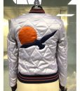 Satin Quilted Silver Wings Bomber Jacket