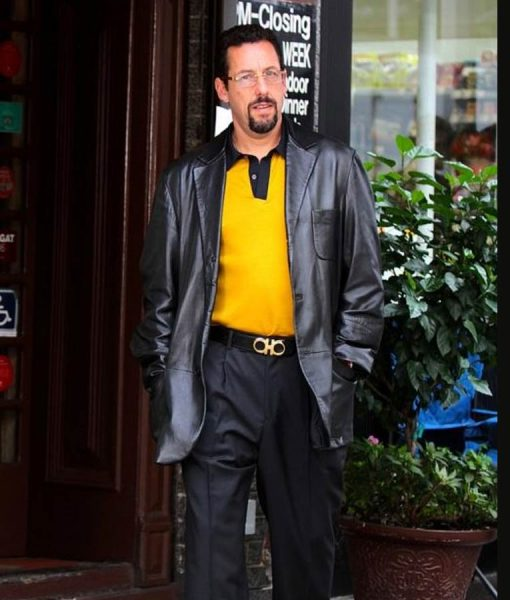 Howard Ratner Black Leather Uncut Gems Coat