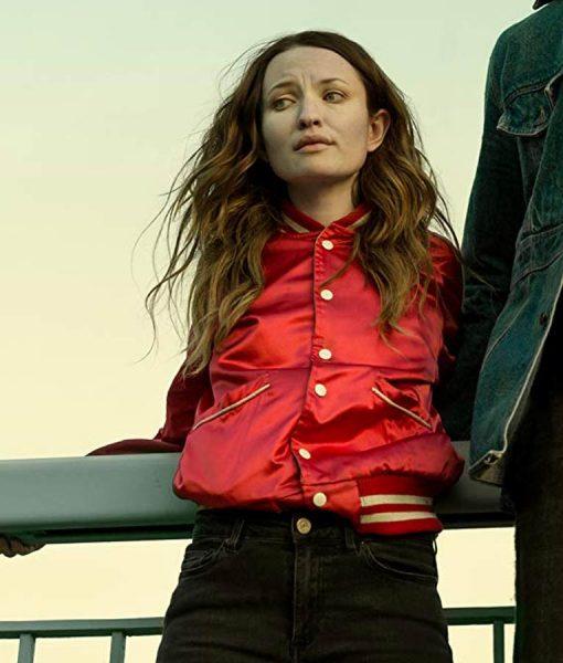 Emily Browning Red Varsity Jacket
