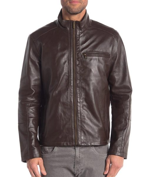 Brown Slimfit Andre Leather Jacket