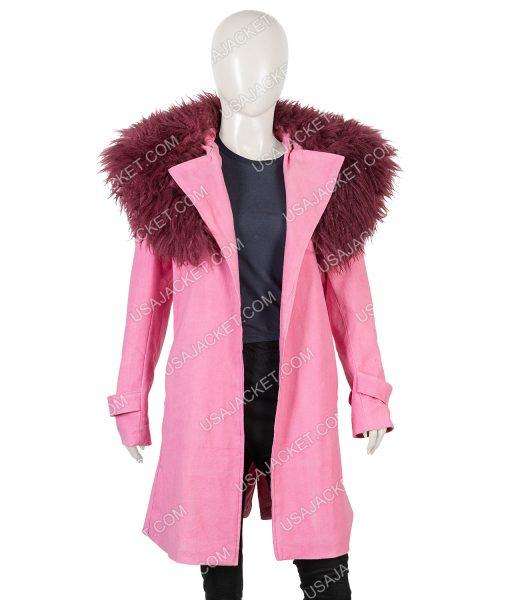 Anne Hathaway Modern Love Pink Fur Collar Coat