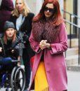 Anne Hathaway Modern Love Pink Fur Collar Lexi Coat