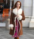 Anne Hathaway Brown Modern Love Shearling Coat