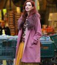 Anne Hathaway Pink Fur Collar Lexi Coat