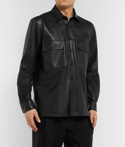 Black Leather Mens Shirt Jacket