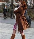 Brown Suede Leather Modern Love Coat