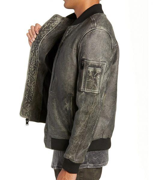 Grey Distressed Leather CharlesBomber Jacket
