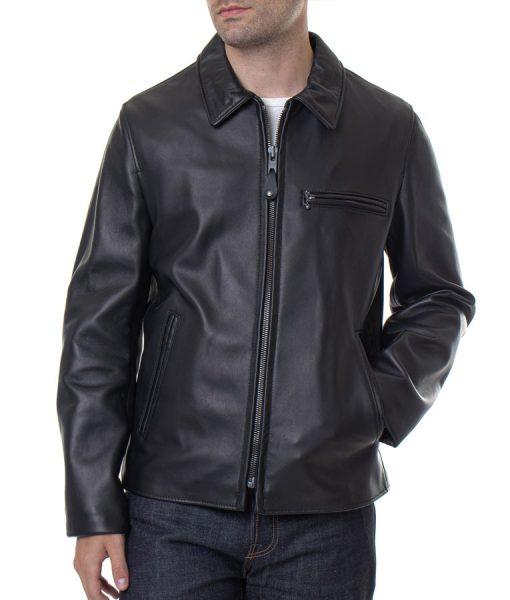 Floyd B Black Leather Slimfit Jacket