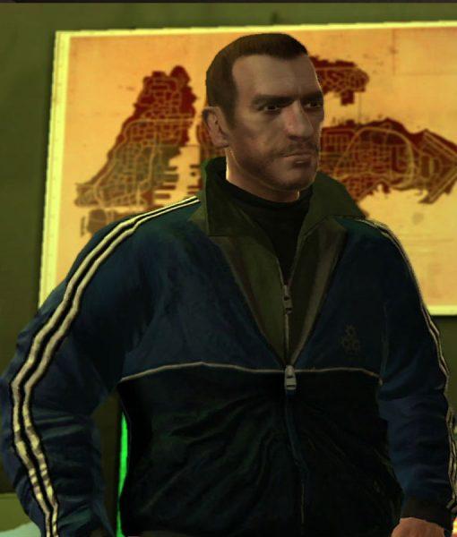 GTA Niko Bellic Blue Bomber Jacket