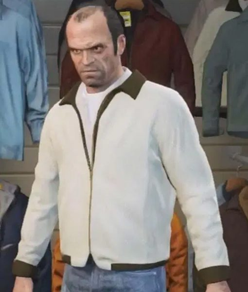 White Satin GTA 5 Jacket With Scorpion Patch