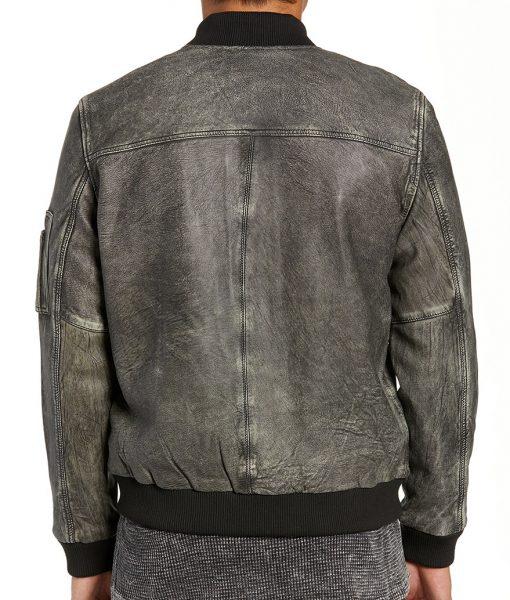 CharlesGrey Distressed Leather Bomber Jacket