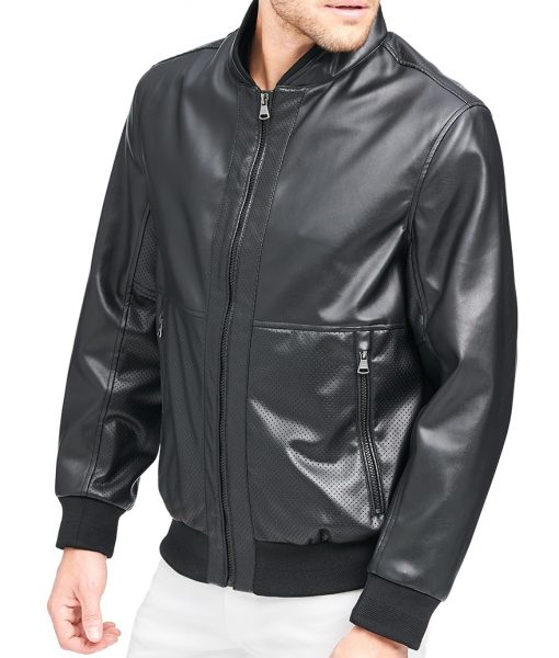 Henry Black Leather Bomber Jacket