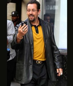Adam Sandler Black Uncut Gems Leather Coat