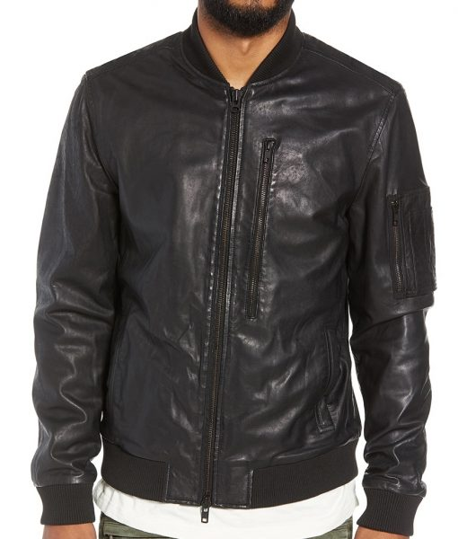 Ivan Black Leather Bomber Jacket