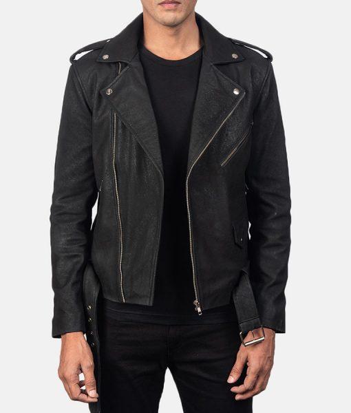 James Distressed Black Leather Biker Jacket