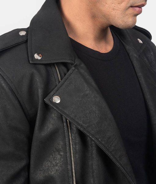 Men's James Distressed Black Sheepskin Belted Jacket