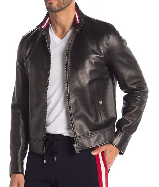 Black Jason Collared Leather Jacket