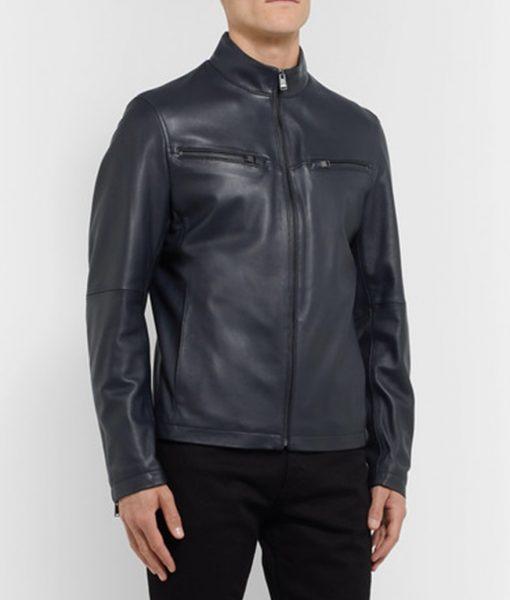 Jason Navy blue Cafe Racer Jacket
