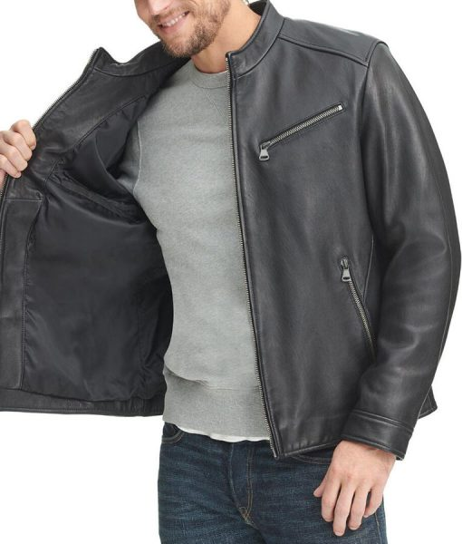 John black Leather Jacket With Zipper Pockets
