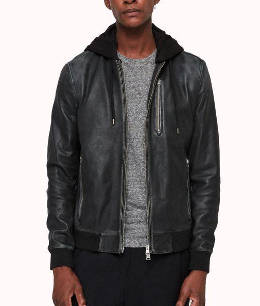 John Mens Black Zipper jacket with Hood