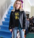 Let It Snow Motorcycle Leather Kiernan Shipka Collar Jacket